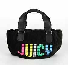 Juicy Couture Black Rainbow Studded Velour Etiquette Satchel Bag YHRU1875 013