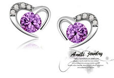 925 Sterling Silver Amethyst Swarovski Element Crystal Heart Stud Earrings Box
