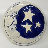 Vintage 1997 Earth Song Ceramic Art Tile Moon & Stars Blue White Gresham