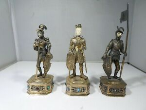 3 GERMAN STERLING SILVER JEWELLED KNIGHTS MARKED