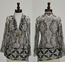 Hale Bob Tunic Top Size XS 2 4 NWT Blouse Silk Chiffon Beaded Neutral Print $188