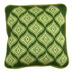 """VTG Retro Square Shaped Aztec Green Throw Pillow Zipper Cover 13"""" Velvet Back"""
