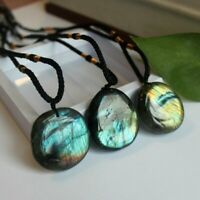 Natural Stone Labradorite Crystal Pendant Necklace Healing Stone Necklace Unisex