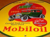 """VINTAGE MOBIL FOR FORD OWNERS 11 3/4"""" PORCELAIN METAL GASOLINE OIL MOBILOIL SIGN"""