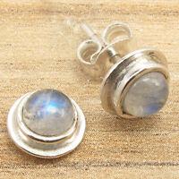 925 Silver Plated BLUE FIRE Cabochon Rainbow Moonstone GIRLS' Stud Earrings ART