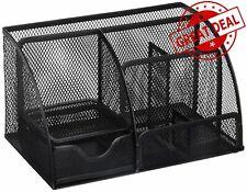 Mesh Office Supplies Desk Organizer Caddy Greenco 6 Compartments Black