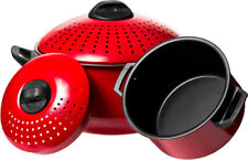 2 Piece Quality Pasta Pot w/ Strainer Lid - Red Pasta Cooker Stock Pot