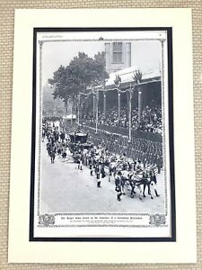 1937 Antique Print Coronation of King George V Queen Mary Royal Carriage Display