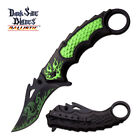 Dark Side Folding Knife Spring Assisted Black Handle GREEN DRAGON Clip DS-A051GN