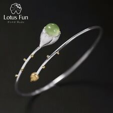 Handmade Lotus Buds Natural Stone Bangle for Ladies Solid 925 Silver Jewelry