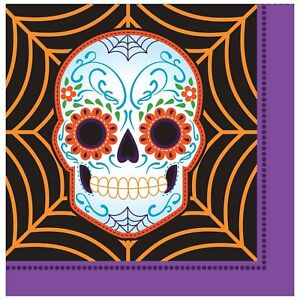Day of the Dead Lunch Napkins, Black/Purple/Orange (pack of 2)