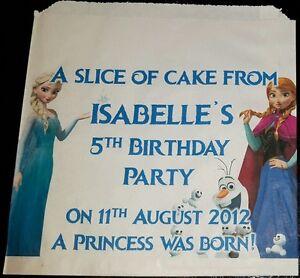 Personalised Disney Frozen Elsa & Anna White Cake / Party Bags
