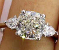 5.50Ct White Cushion & Pear Cut 925 Sterling Silver Three Stone Engagement Ring