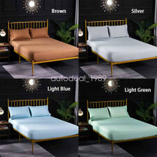 Solid Color Fitted Sheet Slipcover Protector Stretch Dustproof Mattress Cover