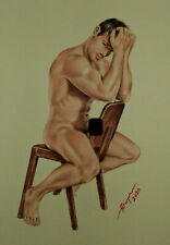 Original artwork nude male drawing gay interest pastel by dr.stoya