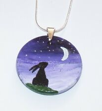Moon Gazing Hare Pendant & 925 Silver Chain. OOAK.