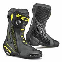 TCX RT-Race Moto Motorcycle Bike Leather Boots Black / Fluo Yellow