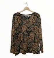 CHICO'S Travelers Women's Size 3 Gorgeous Embossed Blouse Long Sleeve Lined Top