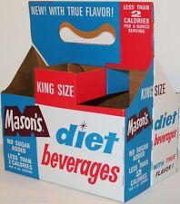 Vintage soda pop bottle carton MASONS DIET BEVERAGES unused new old stock nrmt+