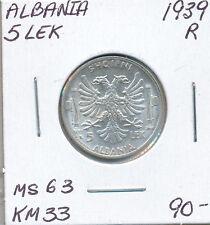 ALBANIA 5 LEK 1939 R KM33 - MS63