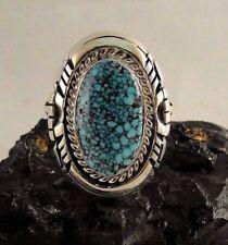 Navajo Sterling Silver Kingman Web Turquoise Handmade Ring - Robert Shakey
