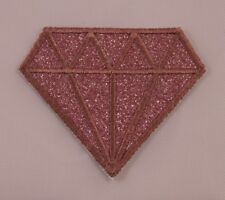 Embroidered Glitter Sparkle Rose Gold Pink Diamond Gem Applique Patch Iron On