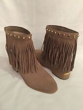 Micheal Kors Nude Light Tan Fringe Suede Booties Boots Women's 9.5 Runs Small