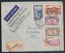 Reunion covers 1937 ROLAND GARROS ovpt stamp R-1st Flight cover to Paris