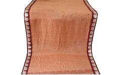 Indian Vintage Sari Soft Silk Fabric Brown Print And Woven Border work 5.5Yard