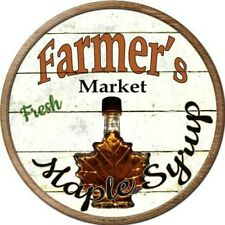 """Farmers Market Maple Syrup 12"""" Round Metal Kitchen Sign Novelty Retro Home Decor"""