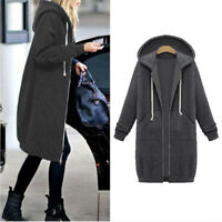 UK Women Warm Zipper Hoodie Sweater Hooded Long Jacket Sweatshirt Coat Plus Size