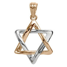 18k Rose & White Gold Jewish Star Star of David Pendant Charm 30 mm by 19m 3.80g