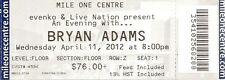 2012 April 11 Bryan Adams Unused Ticket Stub St John Newfoundland