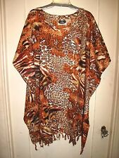 Lovely Leopard/Tiger Print  Caftan/Top Cover-Up   (3X) 4X 5X 6X NWT