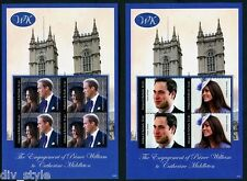 William & Kate Royal Engagement Antigua pair of mnh mini sheets (4 stamps each)