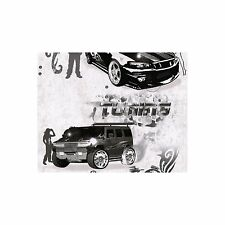 Kids Black and White Boys Teenage Bedroom Cars Tattoo Themed Wallpaper - SALE