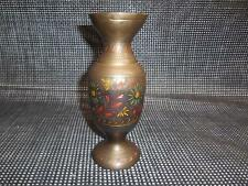 "Old Vtg Solid Brass Vase Etched Ornate Design Made India 8"" Tall Metalware"