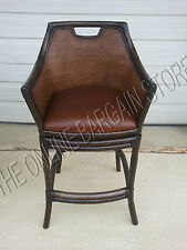 """Frontgate Nisbet counter BAR height Leather Barstool stools Chairs wood arm 30"""""""