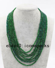 "7rows green jade roundel facet 4*2mm necklace 17-22"" nature wholesale gift beads"