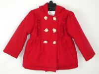 KC Collections Red Dressy Jacket W/ Hood & Gold Buttons NWOT Toddler Girl's 3T W