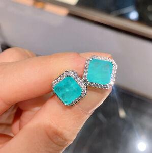Women Retro Stud Earrings Emerald Paraiba Tourmaline Gemstone 925 Sterling Silve