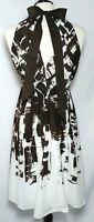 Suzi Chin for Maggy Boutique Sun Dress Size 8 Brown White Key Hole Back Tie Neck