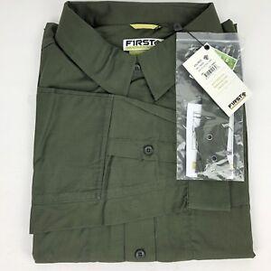 First Tactical Shirt Long Sleeve Shirt Men's 2XL Vented Water Resistant Green