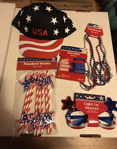 USA/American Flag LOT HAT Light-Up Glasses Straws 4 Bracelets 3 Necklace Set NEW