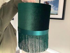 Green Velvet Lampshade with fringe trim