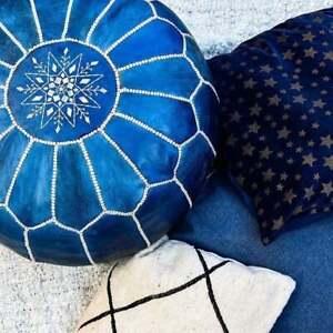 40% OFF, Moroccan Leather Pouf, Blue Pouf, Berber Pouf, Ottoman Pouf Moroccan