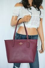 NWT COACH CROSSGRAIN LEATHER ZIP TOP TOTE DARK BERRY COLOR