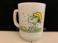 Snoopy Fire King Coffee Mug Cup 1958 Vintage Milk Glass Anchor Hocking Schulz