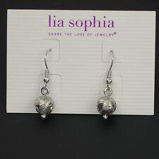 lia sophia jewelry silver plated pattern cute ball drop earrings hoop fishhook