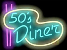 "NEON SIGN 50's DINER TURQUOISE LTRS COLORFUL GRAPHICS 18""  X 24"" FREE SHIPPING"